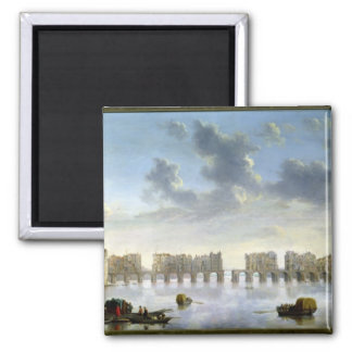 Old London Bridge (oil), c.1630 Square Magnet