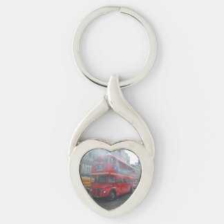 Old London City Bus Heart Keychain Silver-Colored Twisted Heart Key Ring