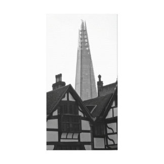Old London New London - The Shard Stretched Canvas Print