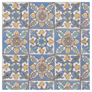 Old Majolica Wall Tiles Pattern painted by hand Fabric