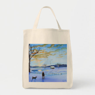 Old man and his dog winter snow painting grocery tote bag