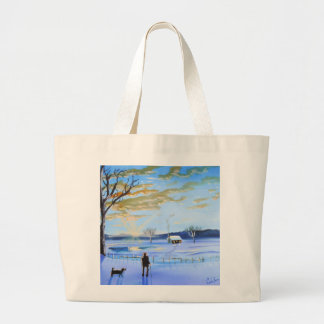 Old man and his dog winter snow painting jumbo tote bag