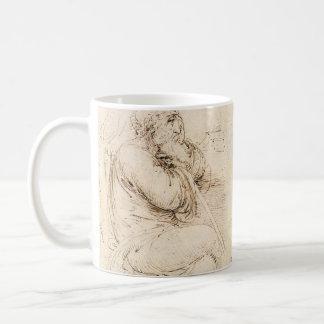 Old Man and Water Sketch by Leonardo da Vinci Basic White Mug