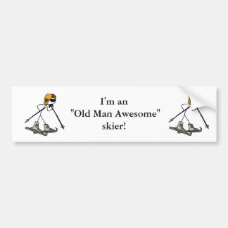 Old Man Awesome Skier Bumper Sticker