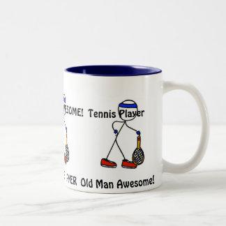 Old Man Awesome! Tennis Player Two-Tone Mug