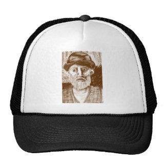 Old Man Brown Charcoal Drawing Hats