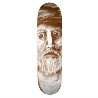 Old Man Brown Charcoal Drawing Skate Board Decks