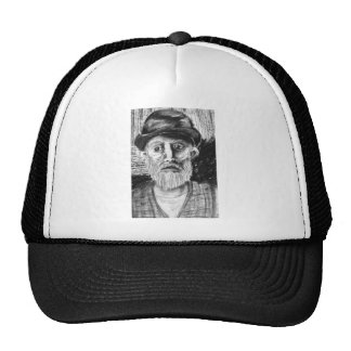 Old Man Charcoal Drawing Hat