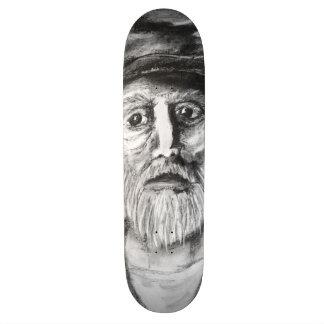 Old Man Charcoal Drawing Skate Decks