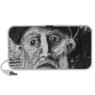Old Man Charcoal Drawing iPod Speaker