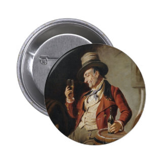 Old Man Drinking Beer Painting 6 Cm Round Badge