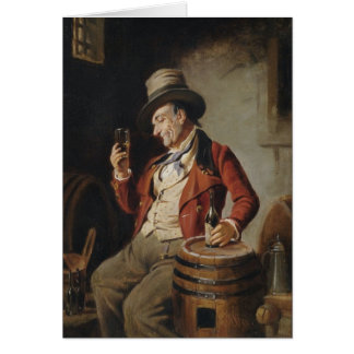 Old Man Drinking Beer Painting Greeting Card