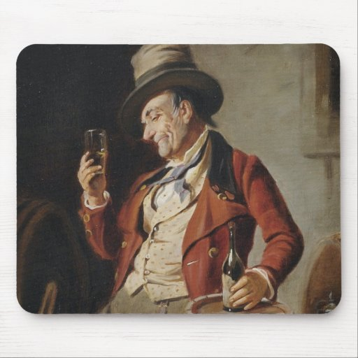 Old Man Drinking Beer Painting Mousepad
