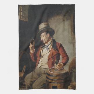 Old Man Drinking Beer Painting Tea Towel