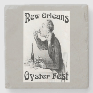 Old Man Eating Oysters Stone Coaster