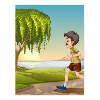 Old man jogging in the park postcard