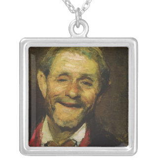 Old Man Laughing, 1881 Silver Plated Necklace