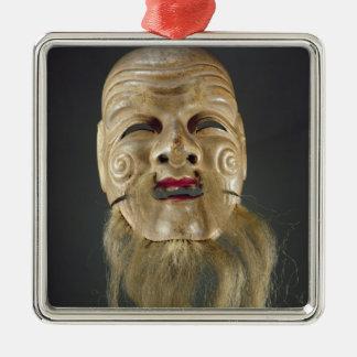 Old Man Mask, Noh Theatre Silver-Colored Square Decoration