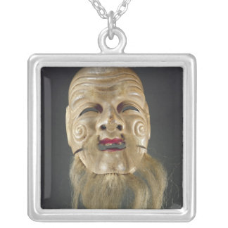 Old Man Mask, Noh Theatre Silver Plated Necklace