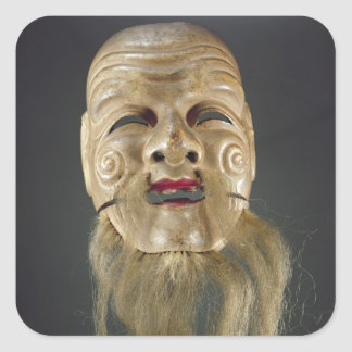 Old Man Mask, Noh Theatre Square Sticker