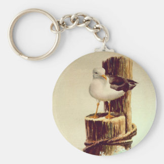 OLD MAN SEAGULL by SHARON SHARPE Basic Round Button Key Ring