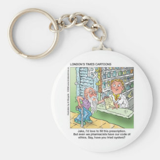 Old Man & The Pharmacy Funny Offbeat Cartoon Gifts Key Ring