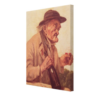 Old Man with a glass of wine Stretched Canvas Print