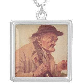 Old Man with a glass of wine Square Pendant Necklace