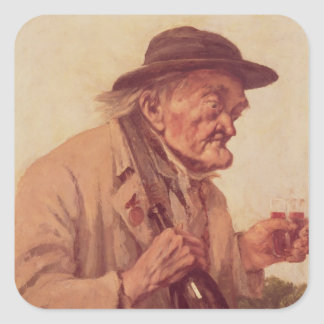 Old Man with a glass of wine Square Sticker