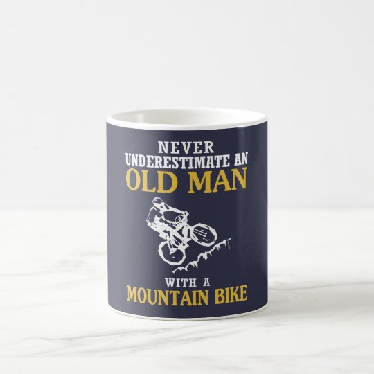 OLD MAN WITH A MOUNTAIN BIKE COFFEE MUG