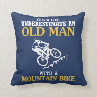 OLD MAN WITH A MOUNTAIN BIKE CUSHION