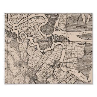 Old Map, Altamaha River, Georgia, USA - Brown Photographic Print
