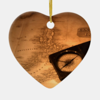 Old Map And Compass Ceramic Heart Decoration