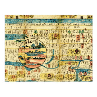 Old map Kanto Postcard