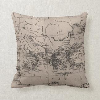 Old Map, Mediterranean Sea, Europe - Brown Black Cushion