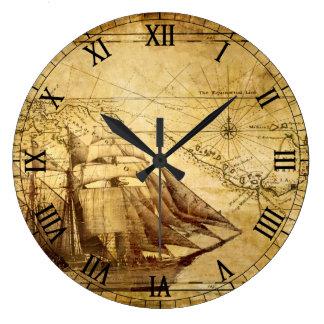 Old Map Navigation Large Clock