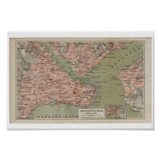 Old Map of Constantinople Poster