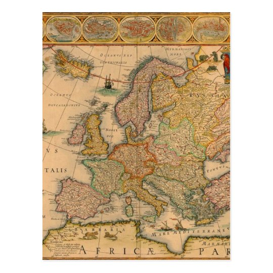 Old Map of Europe Postcard