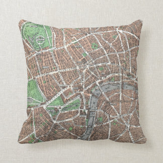 Old Map of London Throw Pillow
