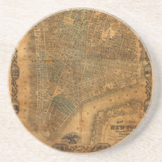 Old Map of New York City in 1852 Coaster