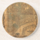 Old Map of New York City in 1852 Coasters