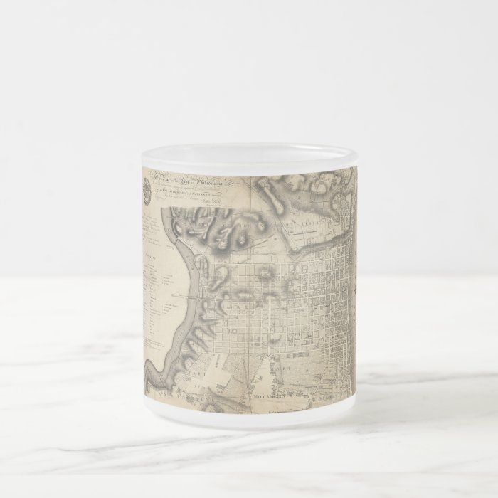 Old Map of Philadelphia Pennsylvania from 1796 Frosted Glass Coffee Mug