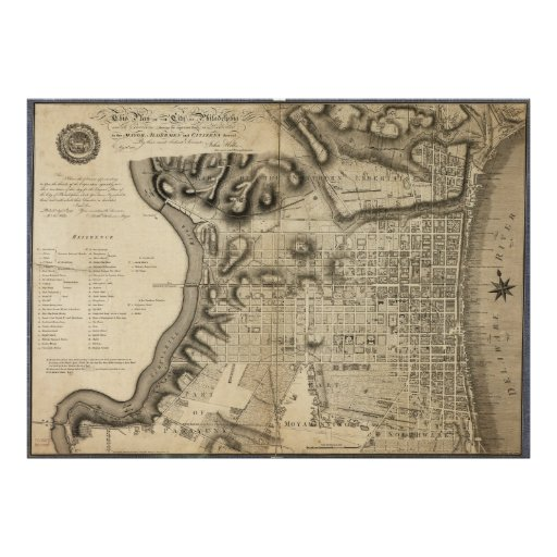 Old Map of Philadelphia Pennsylvania from 1796 Poster