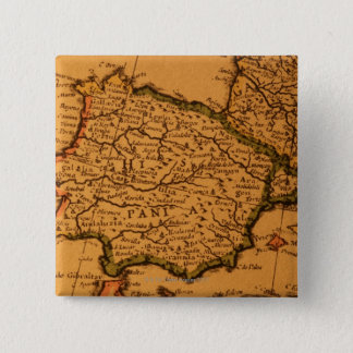 Old map of Spain 15 Cm Square Badge