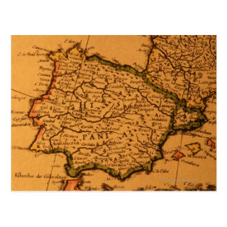 Old map of Spain Postcard
