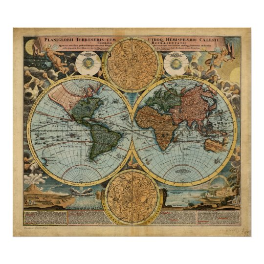 Old Map of the World 1716 Mediaeval poster print