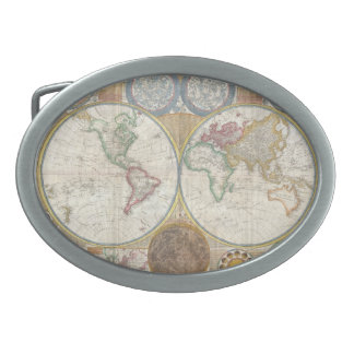 Old Map of the World Oval Belt Buckle