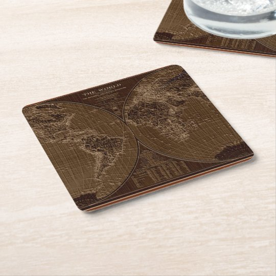 Old map of the World Square Paper Coaster
