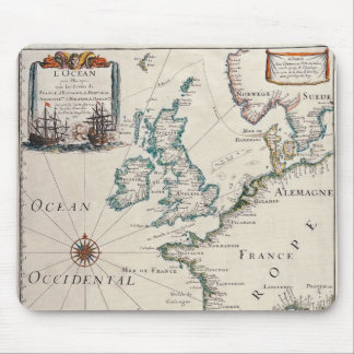 Old map of Western Europe Mouse Mat