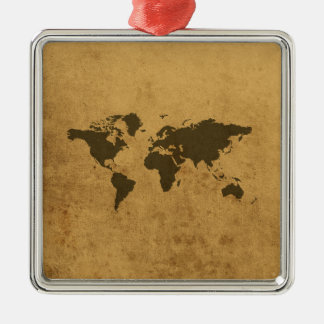 Old Map Silver-Colored Square Decoration
